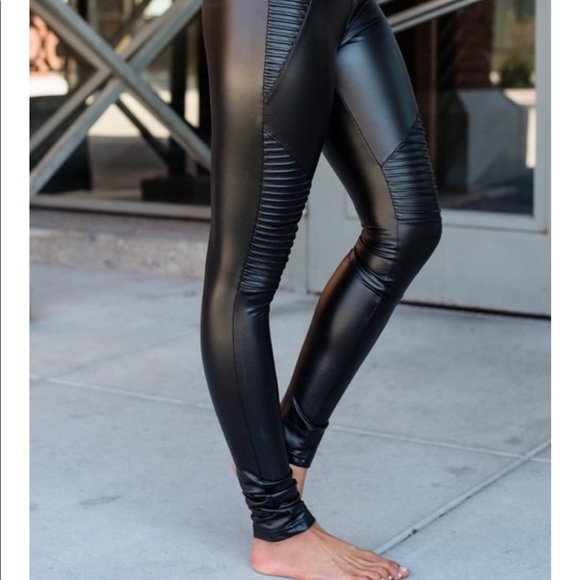 meet classic fit first look Black Pleather Moto Leggings